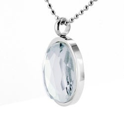Stainless Steel Faceted Crystal Polished Necklace