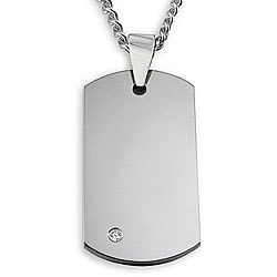 Crucible Men's Tungsten Cubic Zirconia Dog Tag