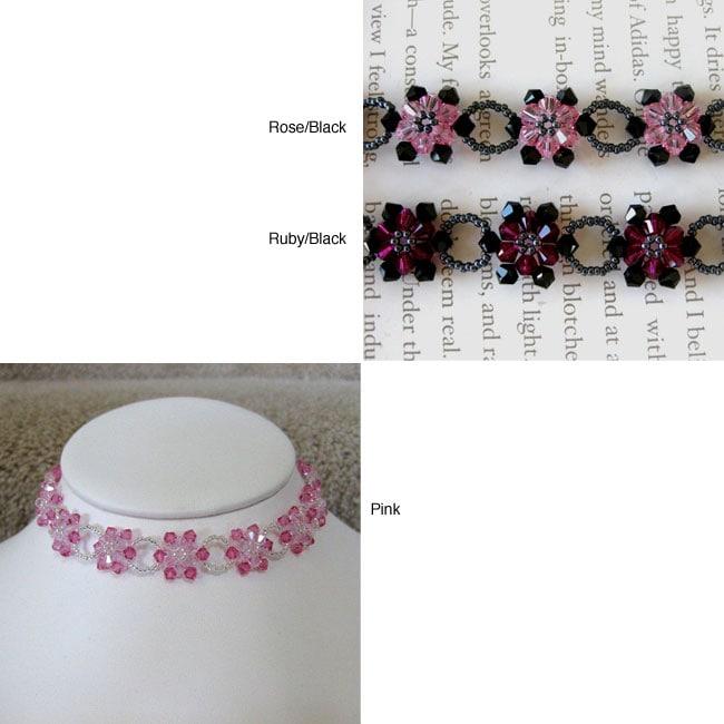 Stainless Steel Crystal Pink Sunflower Choker (USA)
