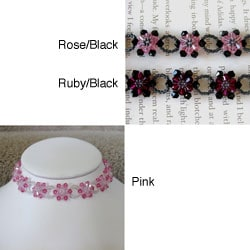 Stainless Steel Crystal Pink Sunflower Choker (USA)