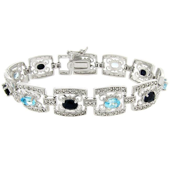 Dolce Giavonna Sterling Silver Sapphire, Blue Topaz, and Diamond Accent Filigree Bracelet