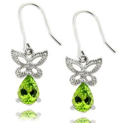 Dolce Giavonna Sterling Silver Peridot and Diamond Accent Butterfly Drop Earrings
