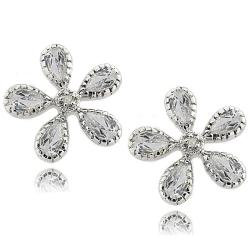 Dolce Giavonna Sterling Silver White Topaz and Diamond Accent Flower Earrings