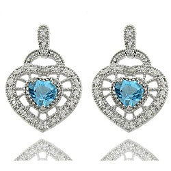 Dolce Giavonna Sterling Silver Blue Topaz and Diamond Accent Heart Drop Earrings