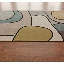 nuLOOM Handmade Pino Contour Map Pattern Blue/ Grey Rug (5' x 8')