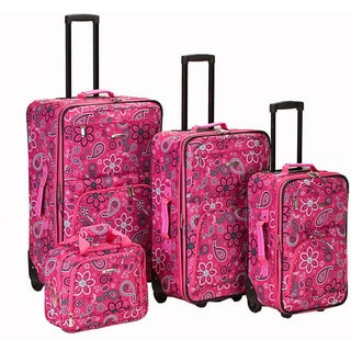 Rockland Designer Pink Bandana Expandable 4-piece Luggage Set