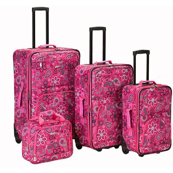 Rockland Deluxe Pink Bandana Expandable 4-piece Expandable Luggage Set