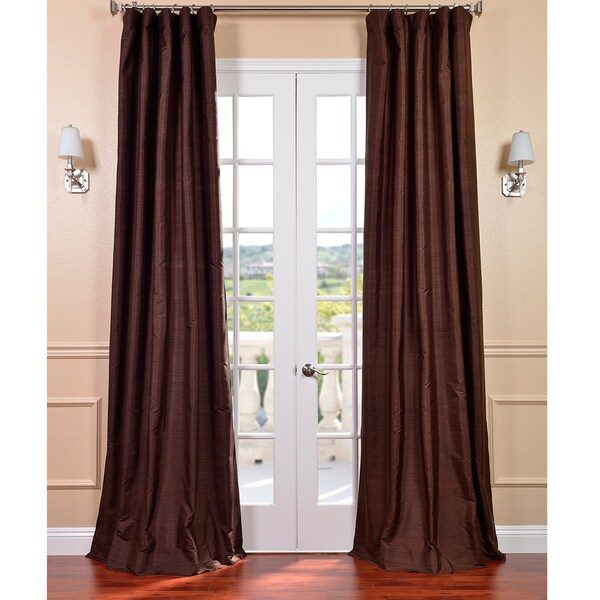 Signature Chocolate Textured Silk 84-inch Curtain Panel