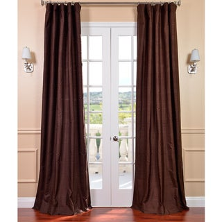 Signature Chocolate 96-inch Textured Silk Curtain Panel