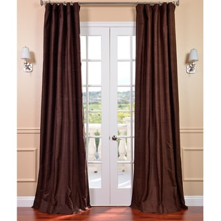Signature Chocolate Textured Silk 108-inch Curtain Panel