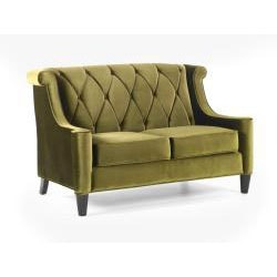 Modern Green Velvet Loveseat