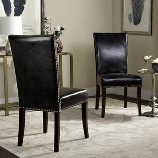 Safavieh Metro Leather Black Side Chairs (Set of 2)