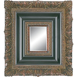 Rectangular Wood Wall Decor Piece Dark Gold Mirror