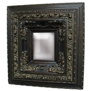 Rectangular Framed Dark Gold Patina Wood Wall Mirror
