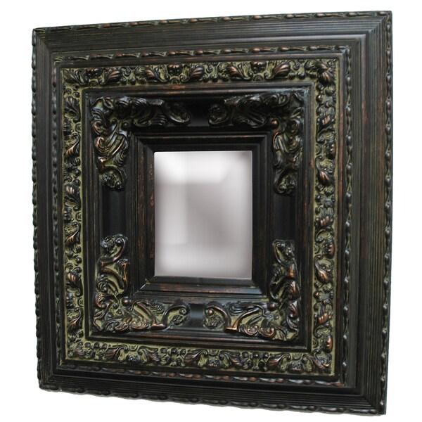 Rectangular Framed Dark Gold Patina Wood Wall Mirror