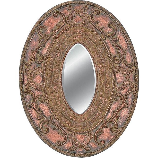 Oval Framed Dark Gold Wall Mirror
