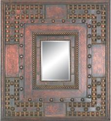 Rectangular 8 x 11 Framed Copper Gold Wall Mirror