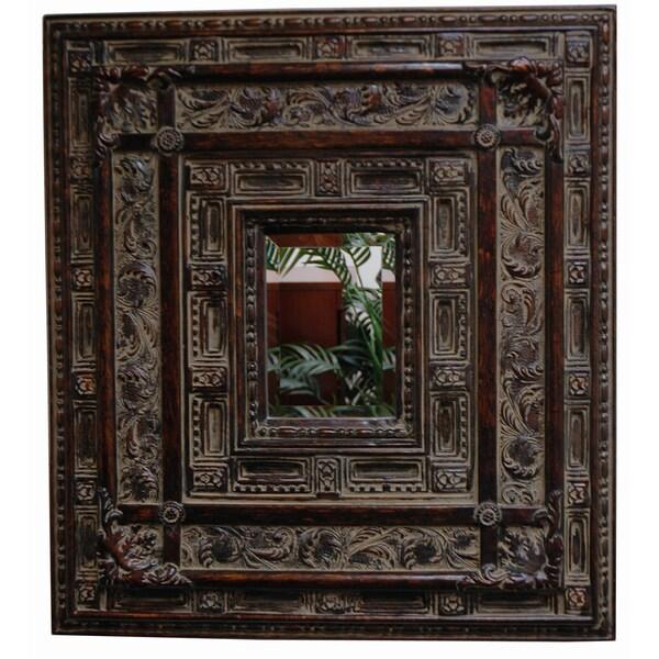 Rectangular Framed Cherry Gold Wall Mirror
