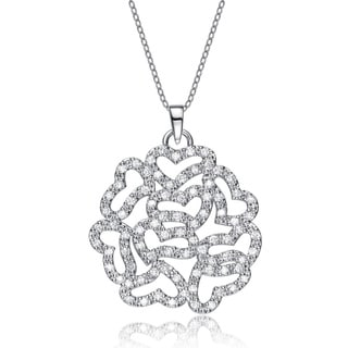 Collette Z Sterling Silver White Cubic Zirconia Freeform Open Heart Necklace