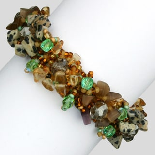 Isabela Leopard Jasper and Crystal Safari Summer Bracelet (Guatemala)
