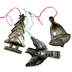 Set of 3 Recycled Oil Drum Holiday Ornaments (Haiti)