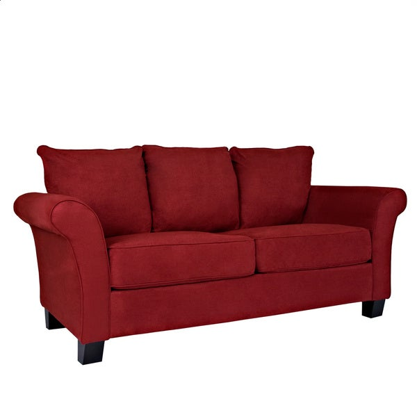 Portfolio Provant Flared Arm Crimson Red Microfiber Sofa 13096936 Shopping