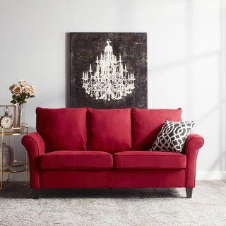 Portfolio Provant Flared Arm Crimson Red Microfiber Sofa