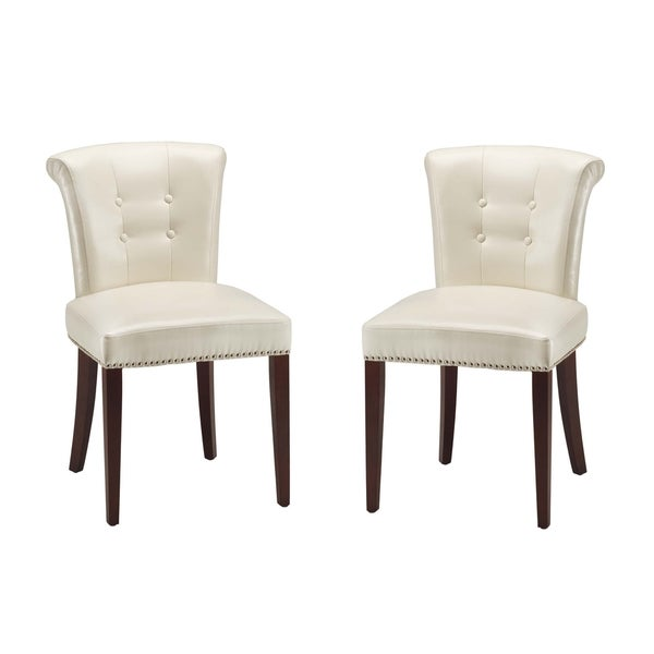 Safavieh Parker Cream Leather Side Chairs (Set of 2)
