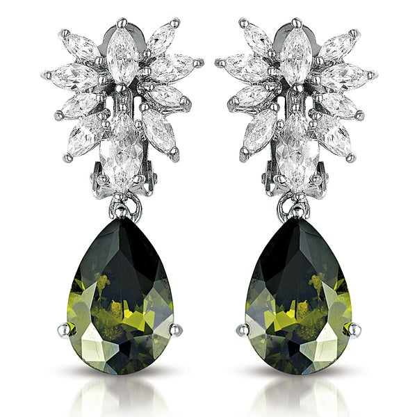 Collette Z Sterling Silver Green and Clear Cubic Zirconia Dangle Earrings