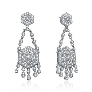 Collette Z Sterling Silver Cubic Zirconia Art Deco Vintage-style Chandelier Earrings