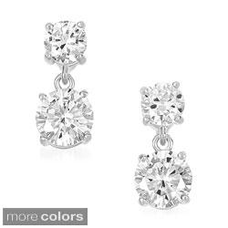 Collette Z Clear Cubic Zirconia Double Drop Earrings