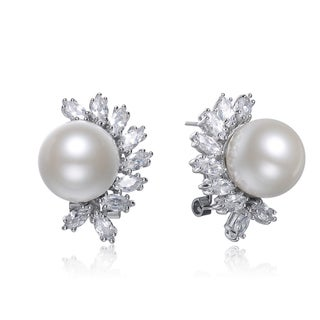 Collette Z Sterling-Silver Faux-Pearl and Cubic Zirconia Stud Earrings with Omega Clasp