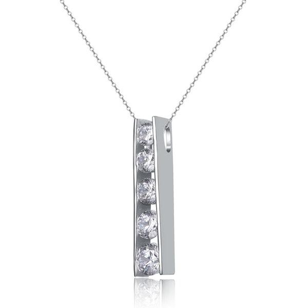 Collette Z Sterling Silver Cubic Zirconia Ladder Journey Necklace