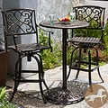 Christopher Knight Home Santa Maria Cast Aluminum Brown 3-piece Bistro Bar Set