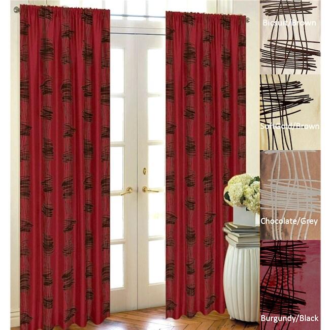 Scribbles Flocked Taffeta 96-inch Curtain Panel