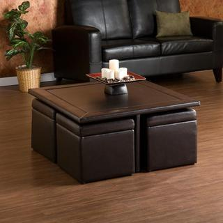 Upton home crestfield dark brown coffee table storage ottoman set overstock shopping great Dark brown leather ottoman coffee table
