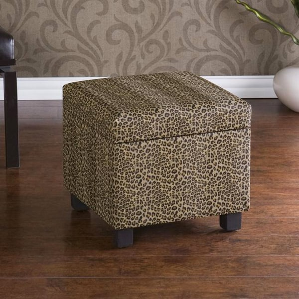 Leopard Faux Leather Storage Ottoman