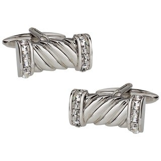Cuff Daddy Rhodium Plated Cubic Zirconia Rope Cuff Links