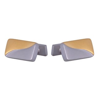 Cuff Daddy 14k Yellow Gold and Rhodium Plated Frosted Cuff Links