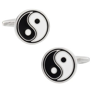 Cuff Daddy Metal Black and White Enamel Yin Yang Cuff Links