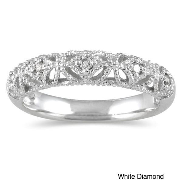 Marquee Jewels 10k White Gold Women's 1/10ct TDW Diamond Ring (I-J, I1-I2)