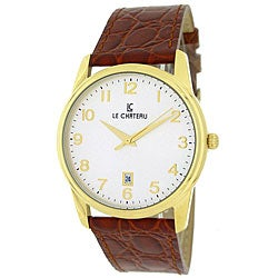 Le Chateau Men's 'Classica' Brown Leather Watch