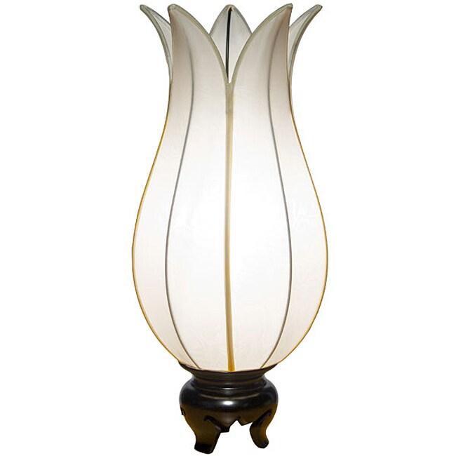 Om Gallery Flowering White Lotus Silk Table Lamp (Vietnam)