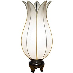 Om Gallery Flowering White Lotus Silk Table Lamp (Vietnam)
