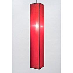 Silk Large Red Rectangular Hanging Lamp (Vietnam)