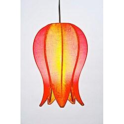 Silk and Steel Small Citrus Flowering Lotus Hanging Lantern (Vietnam)