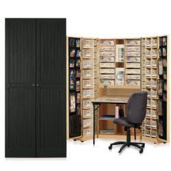 Original Scrapbox Workbox Black Raised Panel Scrapbooking Desk/ Armoire