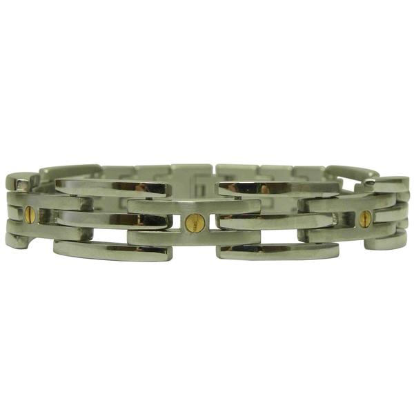 Men's Stainless Steel Magnetic 9-inch Screwhead Bracelet (3 mm)