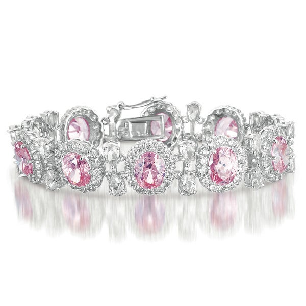 Collette Z Sterling Silver Colored and Clear Cubic Zirconia 'Bling' Bracelet
