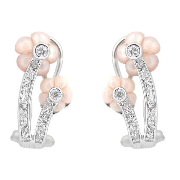Collette Z Sterling Silver Mother of Pearl and Cubic Zirconia Flower Earrings
